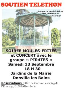 Affiche soiree concert pir4tes moules frites